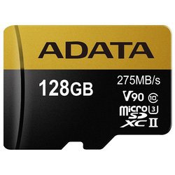 Карта памяти ADATA Premier ONE microSDXC UHS-II U3 Class 10 128GB + SD adapter
